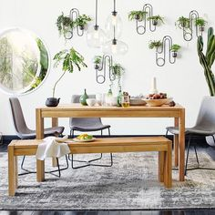"""Fill wall-mounted terrariums with cascading plants for a little drama. Always work in odd numbers and stagger the placement—asymmetry keeps things interesting!"" Shop this room + get more plant tips from @putnamflowers with the link in bio. #mywestelm #lushlife"