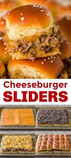 Cheeseburger Sliders are juicy, cheesy and beefy and everything we love about burgers. Sliders are quick and easy, make-ahead, and reheat really well. Hamburger Sliders, Cheeseburger Sliders, Sliders Burger, Easy Hamburger Meals, Recipes With Hamburger, Cheese Burger, Homemade Dinner Rolls, Easy Dinner Recipes, Easy To Make Recipes