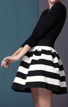 Winter Stripes in Black + White.  dresslily.com