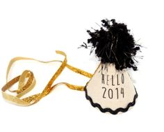 New Year's Party Hat in Black 'Hello 2014'