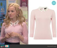 Liv's pink sweater with embellished collar on Liv and Maddie.  Outfit Details: http://wornontv.net/50547/ #LivandMaddie