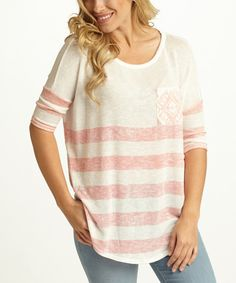Look at this Peach & White Stripe Geo-Pocket Dolman Top on #zulily today!