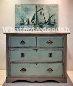 Duck Egg Blue and French Linen.  love this color combo