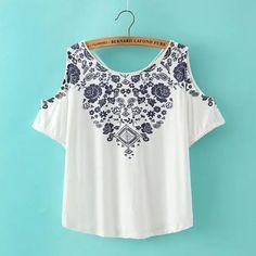 Summer Fashion Women Elegant Blue and white porcelain Print white T-shirt O-neck short sleeve off shoulder Casual Tops