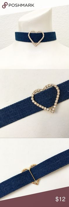 Dark Wash Denim Choker with Rhinestone Heart Charm specific details to be added very soon. Please feel free to ask questions, I am never far from my closet😊 I also have a light denim choker just like this one and a darker denim with a round rhinestone charms that I will be adding soon. Jewelry Necklaces
