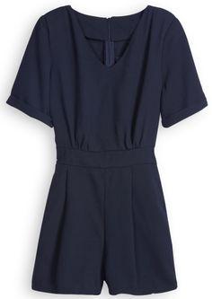 Black Sweet Heart Neck Short Sleeve Waist Jumpsuits