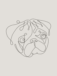 One Line Pug Mini Art Print by huebucket
