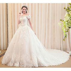 Petite - Plus Size Off White Lace Royal Wedding Bridal Dresses Gowns SKU-119025
