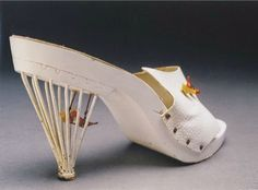 """Creazioni Mariorty birdcage heels, 1957 - as seen in """"Shoes of Tomorrow,"""" presently in collection of Bata Shoe Museum, Toronto Vintage Scarf, Vintage Purses, Vintage Shoes, Bata Shoes, Caged Heels, Body Adornment, Shoe Art, Bird Cage, White Leather"""