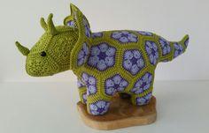 Crochet Triceratops dinosaur from african door StitchesfromHolland