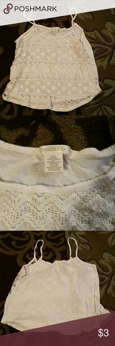 White Bozzolo Lace Tank Large Great Condition  No Tears In The Lace Lace Front Solid Back Bozzolo Tops Tank Tops