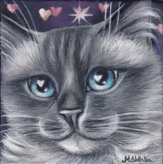 Ragdoll Cat Blue Eyes Valentines Painting #Realism