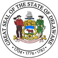 """Delaware state seal 1777. coat of arms, """"Great Seal of the State of Delaware,"""" & 1704 first Delaware General Assembly. 1776 independence declared. 1787 became 1st state. coat of arms adopted 1777 contains symbols: Ship - ship building. Farmer. Militiaman. Wheat Sheaf - agricultural vitality. Maize - agricultural basis of economy. Water - Delaware River. Ox - animal husbandry. Motto - """"Liberty and Independence"""" was approved in 1847."""