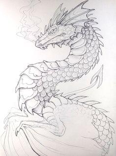 Pen Dragon by Lucieniibi on DeviantArt Pen Dragon by Lucieniibi<br> Sketchbook Drawings, Cool Art Drawings, Drawing Sketches, Cool Dragon Drawings, Dragon Head Drawing, Drawings Of Dragons, Tattoo Sketches, Drawing Ideas, Animal Sketches