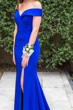 elegant off the shoulder royal blue mermaid long evening dress with side slit, prom dress formal evening dress party dress Blue Graduation Dresses, Royal Blue Prom Dresses, Prom Dresses For Teens, Cheap Prom Dresses, Dance Dresses, Sexy Dresses, Blue Dresses, Mermaid Evening Dresses, Formal Evening Dresses