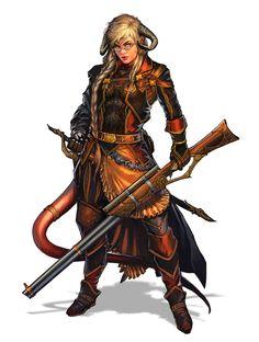 Female Tiefling Gunslinger - Pathfinder PFRPG DND D&D 3.5 5th ed d20 fantasy