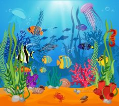 Buy Sea Life Animals and Plants Composition by VectorPot on GraphicRiver. Sea life animals plants composition colored cartoon with marine life and various types of algae vector illustration. Underwater Drawing, Underwater Sea, Underwater Creatures, Meer Illustration, Under The Sea Drawings, Sea Murals, Sea Plants, Fish Art, Drawing For Kids