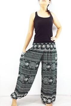 ST93 Thai Women Clothing Comfy Rayon Bohemian Trousers Hippie Baggy Genie Boho Pants Elephant Dk Green Maxi Pants, Harem Trousers, Trousers Women, Gypsy Pants, Boho Pants, Genie Pants, Aladdin Pants, Bohemian Style, Hippie Boho