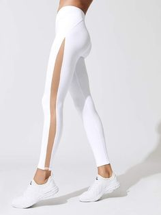 legging with a mesh side. Visit Daily Dress Me at for more inspiration women's fashion fall fashion, workout clothes, leggings, fitness, back to school fashion - Mlh - Kleidung 10 - Crop Top And Leggings, Workout Leggings, Leggings Fashion, Women's Leggings, Printed Leggings, Cheap Leggings, White Leggings Outfit, Vinyl Pants, Daily Dress Me