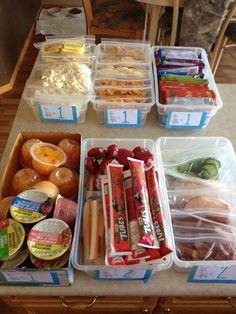 Lunches all ready! Bin 1 - popcorn or veggie straws Bin 2 - goldfish, rice and ritz crackers Bin 3 - fruit to go and fruit & veggie source bars Bin 4 - fruit cups and apple sauces Bin 5 - cheese strings, babybell cheese an yogurt tubes. Bin 6 - Meat & veggies. Bin 7 - will be granola bars, banana muffins or cookies!