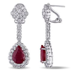 Miadora Signature Collection 14k White Gold Ruby and 2 3/4ct TDW Diamond Teardrop Dangle Earrings