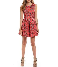 Copper Key Floral Print Scuba Swing Dress #Dillards
