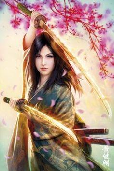 Japanese female warrior - burning swords