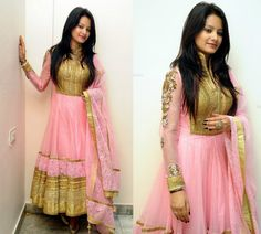 Monica Singh in Stunning Pink Anarkali Celebrity Sarees, Designer Sarees, Bridal Sarees, Latest Blouse Designs 2014 South India Fashion Pakistani Outfits, Indian Outfits, Anarkali Dress, Anarkali Suits, Punjabi Suits, Lehenga, Blouse Models, India Fashion, Bollywood Fashion