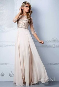 Terani Evening dress Style M2204 Chiffon Hi-low High Collar Long