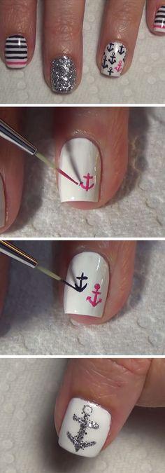 Nautical Nail Art | 18 Easy Summer Nails Designs for Summer | Cute Nail Art Ideas for Teens