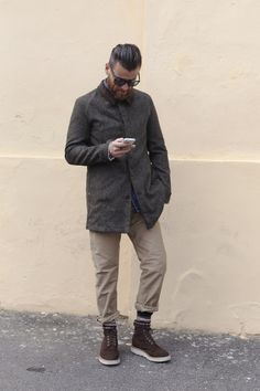 Olive Green Field Coat, Khakis, and Work Boots. Men's Fall Winter Fashion.