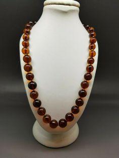 "17,7"" Genuine Baltic Amber Choker Necklace Round beads Cognac #Handmade #Choker"