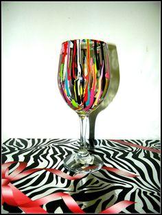 Splat hand painted wine glass