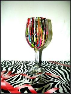 Splat hand painted wine glass