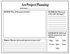 Are you looking to move your art class towards choice-based or TAB? This simple planning sheet is a great starting place for your students! Give students the opportunity to create what interests them using materials they enjoy! Middle School Art, Art School, High School, Planning School, Art Classroom Management, Art Critique, Art Handouts, Art Rubric, Art Worksheets