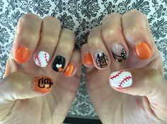 San Francisco Giants Baseball Nails by Vi at Tootsie Toes on Polk in SF https://www.facebook.com/shorthaircutstyles/posts/1761674237456349