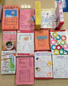 "So cuteI Project to review the preterite, with all it's regular and irregular conjugations: cereal boxes for ""Pretérit-Os""!"