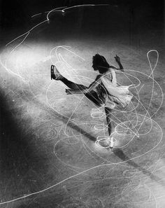 Gjon Mili, Professional figure skater Carol Lynne's movements are charted by flashlights embedded in her boots during the New York show, 'Hats Off To Ice', January 1945.