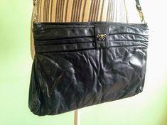 2fb615431bdf Vintage 80s Karnig Mann Genuine Leather Shoulder Purse Made in Canada  Medium Size Black Leather Crossbody Zipper Bag Slim Clutch Wallet