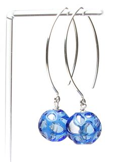 Jill Symons beads and earwires - clear borosilicate with cobalt lace over.