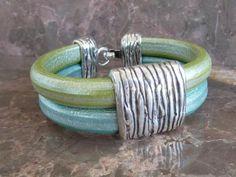 Double Green extra large leather bracelet with zamak clasp - licorice leather bracelet on Etsy, $30.00