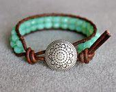 Seafoam green opal Boho beach beaded distressed leather wrap bracelet, 1x Wrap bracelet, Chan Luu style