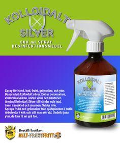 Kolloidalt silver desinfektionsmedel Spray. Svider inte, kan tom. användas i munnen. Dödar Coronavirus, kräksjukevirus, influensavirus och en mängd andra virus och bakterier. Silverjonerna kan färga ljusa ytor, spruta inte på sådana. Silver Spray, Munnar, Spray Bottle, Cleaning Supplies, Cleaning Agent, Airstone