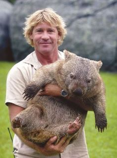 Steve Irwin and Wombat. Not sure what a wombat is.but it's pretty cute! Animals And Pets, Funny Animals, Cute Animals, Beautiful Creatures, Animals Beautiful, Reptiles, Mammals, Irwin Family, Crocodile Hunter