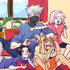 sensei is finally useful for something Naruto Team 7, Naruto Fan Art, Naruto Kakashi, Anime Naruto, Naruto Comic, Naruto Cute, Naruto Uzumaki Shippuden, Sasunaru, Anime Meme