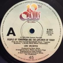 PEOPLE OF TOMORROW ARE THE CHILDREN OF TODAY / SO NICE TO HEAR | LOVE UNLIMITED | 7 inch single | music4collectors.com