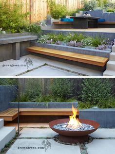 This backyard was transformed into a modern tiered garden with seating, a firebowl, a water feature, and stairs connecting the different levels. garden Landscape design Before And After – An Overgrown Garden Was Transformed Into A Backyard Oasis Modern Landscape Design, Modern Garden Design, Landscape Plans, Garden Landscape Design, Landscape Stairs, Contemporary Garden, Tiered Landscape, Contemporary Water Feature, Japanese Landscape