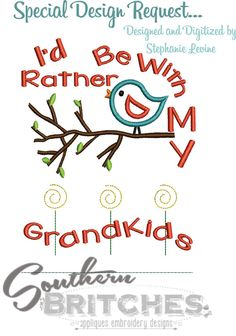 Grandkids Applique Custom Embroidery Design Id by SouthernBritches, $3.75