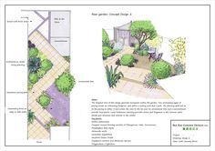 Good use of the diagonal to enliven and widen a small stylish town garden (Bea Ray Garden Design Ltd.).