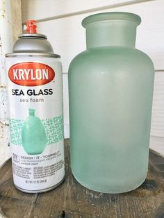 Krylon's Sea Glass Paint - Perfect idea for transforming thrift store glass vases for weddings and parties of all sorts and kinds!